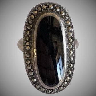 Heavy Sterling Onyx and marcasite ring