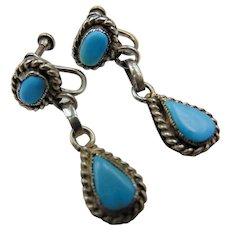 Vintage Sterling Screw back Turquoise Drop Earrings