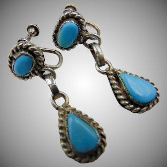 Vintage Sterling Screw back Turquoise Drop Earrings