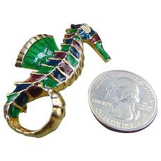 Enamel Gold tone Seahorse Pin Brooch