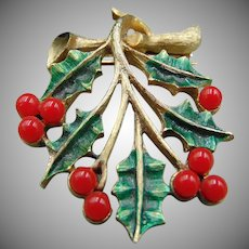 25% OFF Vintage JJ Signed Goldtone Christmas Brooch Pin