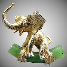 20% OFF Alice Caviness Sterling Jade Elephant Pin Brooch