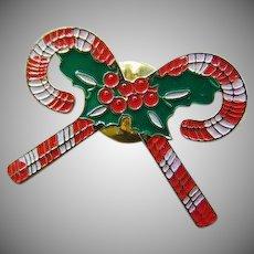 Vintage Christmas Candy Cane Enamel lapel Pin