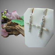 10% OFF  Sterling Silver opal Cross Earrings