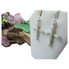 10% OFF  Sterling Silver opal Cross Earrings