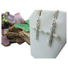 Vintage Sterling Silver opal Cross Earrings