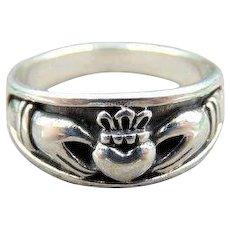 Sterling Claddagh Ring unisex Sterling Silver Irish ring