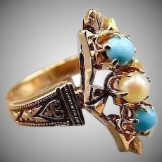 40% OFF Victorian Style 14k rose gold turquoise & Pearl Ring