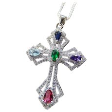 Sterling Cross Multi Gemstone Pendant Necklace