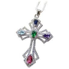 Sterling Cross Multi Gemstone Pendant Necklace