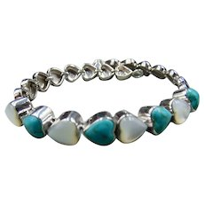 Sterling Turquoise and Mother of Pearl Heart Bracelet