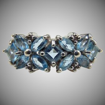 9k Ostby and Barton Diamond & blue spinel ring