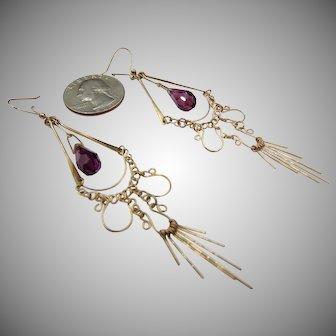 9ct Vintage Amethyst Drop Earrings