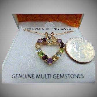20% OFF Sterling Genuine Stone 18k vermeil Necklace pendant