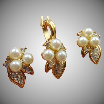Signed Roman Necklace Enhancer Pierced Earrings Set Faux Pearl Rhinestone