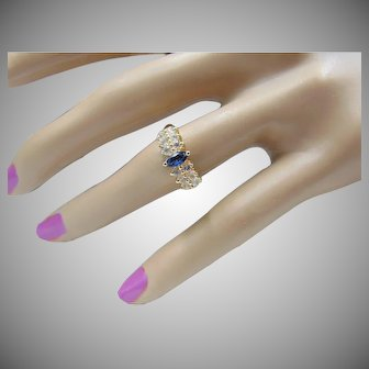 Estate 14K Natural Blue Sapphire And White Sapphire Ring size 7.75