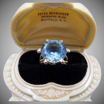 30% OFF HUGE 14kt Blue Topaz Ring Size 8