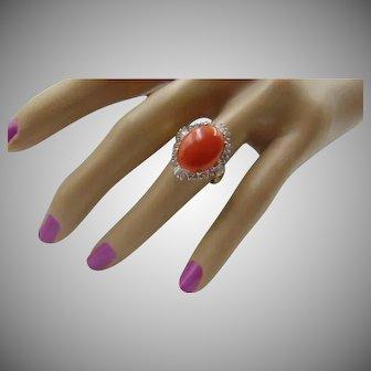 50% OFF Natural Coral Diamond 14k Ring