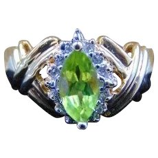 14K Peridot Vintage Ring Marquise cut