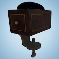 Georgian Regency Mahogany veneered Sewing Clamp Box with Pin Cushion early Nineteenth Century
