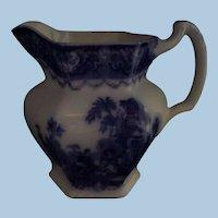 "Flow Blue Pitcher Jug Watteau Pattern New Wharf Pottery Co. 6. 1/8"" Circa 1878 - 94  #1"