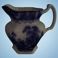 "Flow Blue Pitcher Jug Watteau Pattern New Wharf Pottery Co. 6. 1/8"" Circa 1878 - 94  #1"