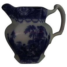 "Flow Blue Pitcher Watteau Pattern New Wharf Pottery 5. 5/8"" Circa 1878 - 1894  #2"