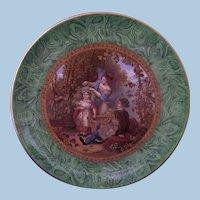 Staffordshire F & R Pratt 'The Hop Queen' Malachite Marbled Border Plate 1851 Prattware Pratt Ware