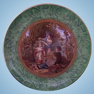 Staffordshire F & R Pratt 'The Hop Queen' Malachite Marbled Border Plate 1851 Prattware Pratt Ware