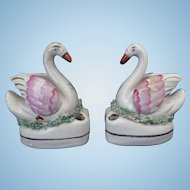 Staffordshire Swan Inkwell pair Circa 1860