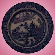 "Leeds Pottery Blue and White Transferware Dessert Plate 'Long Bridge' Pattern Pearlware Circa 1790  - 8.1/4"""