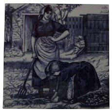 Minton Transferware Tile William Wise Country Village Life - Picking Potatoes