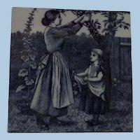 Minton Transferware Tile William Wise Country Village Life - Fruit Picking