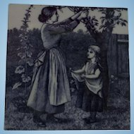 Minton Transferware Tile William Wise Country Village Life - Fruit Picking