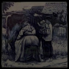 Minton Transferware Tile William Wise Country Village Life - Milking the Cow - Red Tag Sale Item