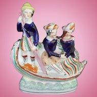 Staffordshire Figures in Gondola 'Astleys Circus' circa 1850