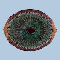 """English Majolica Bread Platter """"Where reason rules the apprentice obeys """" circa 1870"""