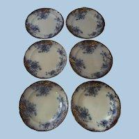 "Flow Blue Flanders pattern plates 8"" diameter Set of 6 Nineteenth Century"