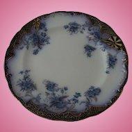 """Flow Blue Flanders Pattern Dinner Plate 9. 3/4"""" diameter Nineteenth Century"""