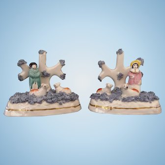 Staffordshire Figures with Sheep Pair of Dudson Factory Circa 1830 - 1860