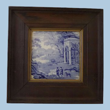 Staffordshire Blue and White Transfer Printed Pottery Tile Dog Sheep Shepherds