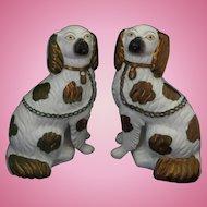 Staffordshire Spaniel Dogs Separate Front Leg Pair Copper Lustre Circa 1860