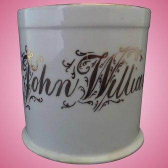 Victorian Child's Porcelain Christening Mug ' John William ' Late Nineteenth Century, Flowers Print