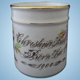 Victorian Child's Porcelain Christening Mug ' Christina Best 1900 ' Roses Hand Painted Large Size