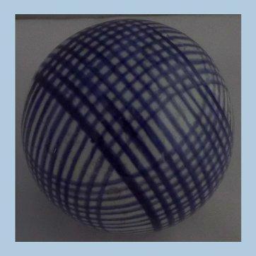 Victorian Scottish Carpet Bowl or Ball Blue Stripe decoration  -  circa 1860
