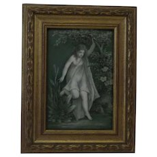 Pre-Raphaelite  Porcelain Plaque - Woodland Nymph or Young Girl Hand Painted