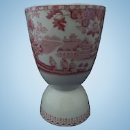 Staffordshire Red Transferware Double Egg Cup, Oriental Landscape, Figures, Nineteenth Century