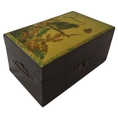 Victorian Money Box Double Slot Aesthetic Lithograph print decorated bird and butterfly