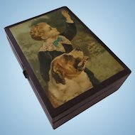 Treen Trinket Sewing Box Boy and Dog Chromo Lithograph Print St. Bernard 1800's