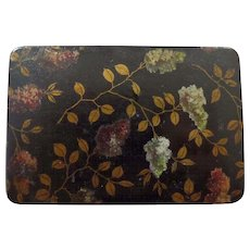 Papier Mache Victorian Stamp Box, Hand Painted Leaf Decoration